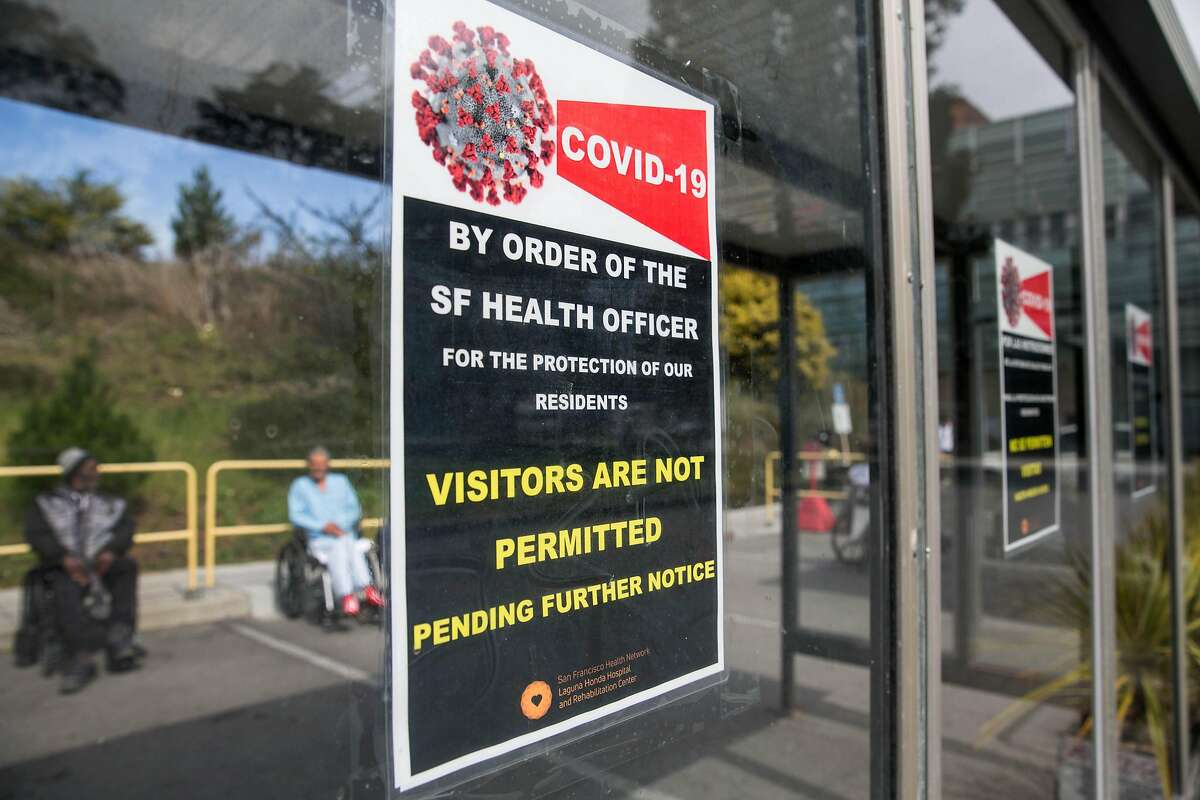 Signage outside the Laguna Honda Hospital entrance informs the public that visitors are not permitted at this time in an effort to prevent the coronavirus from spreading inside their facilities. On Tuesday, March 10, 2020.