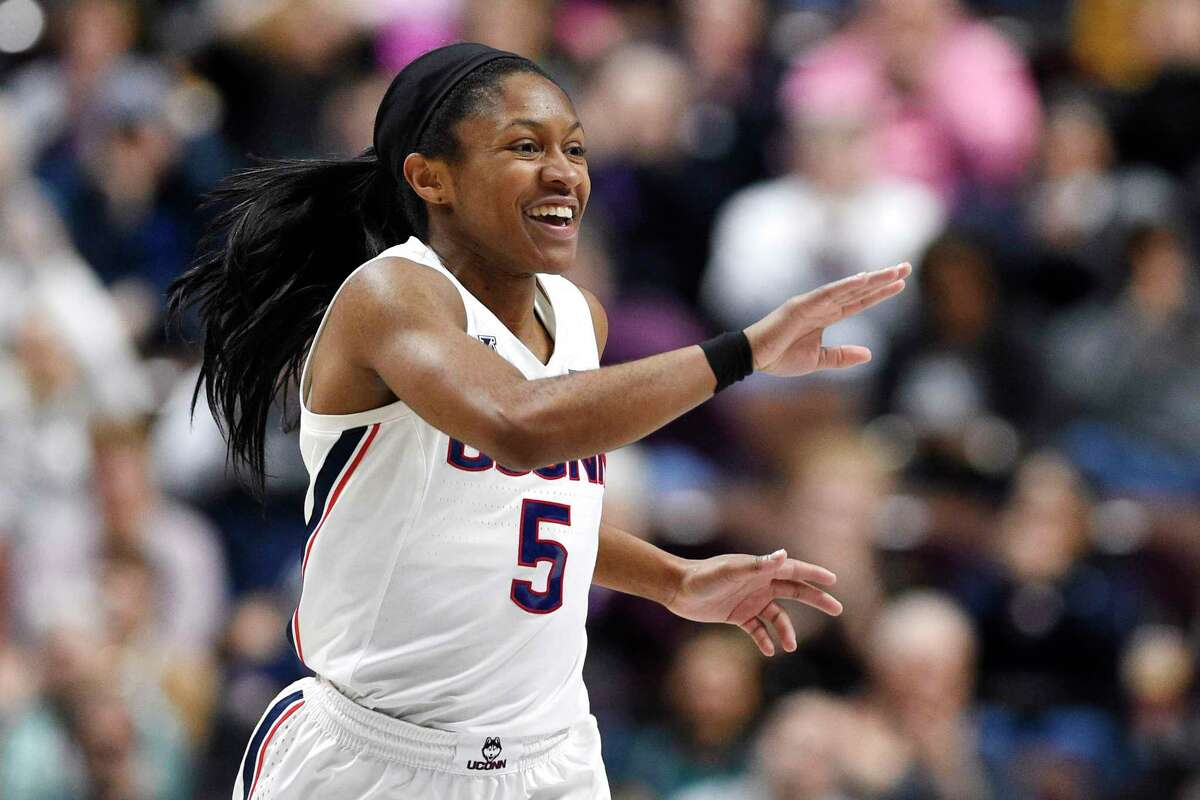 UConn's Crystal Dangerfield reacts during the second half of an NCAA college basketball game against Temple in the American Athletic Conference tournament quarterfinals at Mohegan Sun Arena, Saturday, March 7, 2020, in Uncasville.