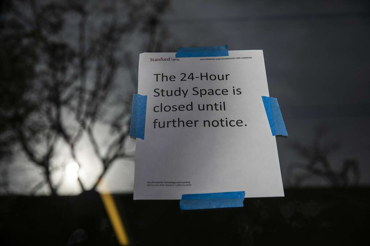 A study space remains closed due to Coronavirus fears at Stanford University on March 9, 2020. Stanford University announced that classes will be held online for the remainder of the winter quarter after a staff member working in a clinic tested positive for the Coronavirus.