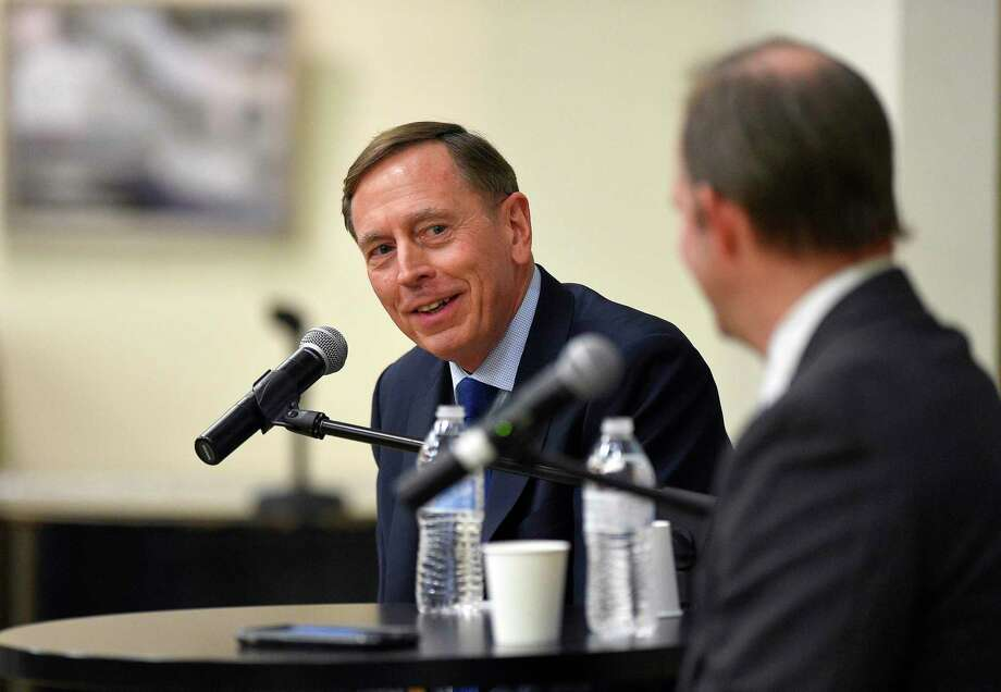 "Retired U.S. Gen. David H. Petraeus speaks on ""Civility in Public Service,"" Tuesday, March 10, 2020 at the Ernest A. DiMattia, Jr. Building of The Ferguson Library in Stamford, Connecticut. Petraeus took part in a Q&A with John Breunig, editorial page editor of the Stamford Advocate and Greenwich Time, answering questions from the audience of various topics, following his introduction by Jan Dilenschneider. His appearance is part of a series on Civility in America sponsored by The Dilenschneider Group, Hearst Media Group in Connecticut and The Ferguson Library. Photo: Matthew Brown / Hearst Connecticut Media / Stamford Advocate"
