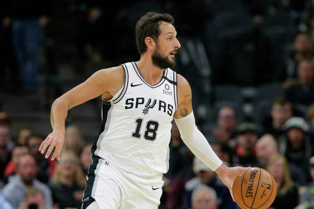San Antonio Spurs guard Marco Belinelli (18) during the second half of an NBA basketball game against the Dallas Mavericks in San Antonio, Wednesday, Feb. 26, 2020. (AP Photo/Eric Gay)