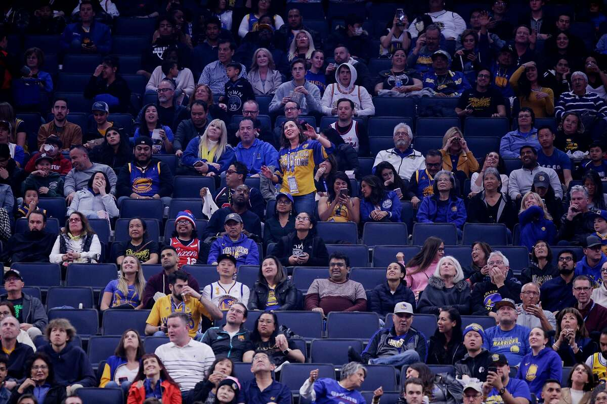 Golden State Warriors fans during an NBA game between the Golden State Warriors and Philadelphia 76ers at Chase Center on Saturday, March 7, 2020, in San Francisco, Calif.