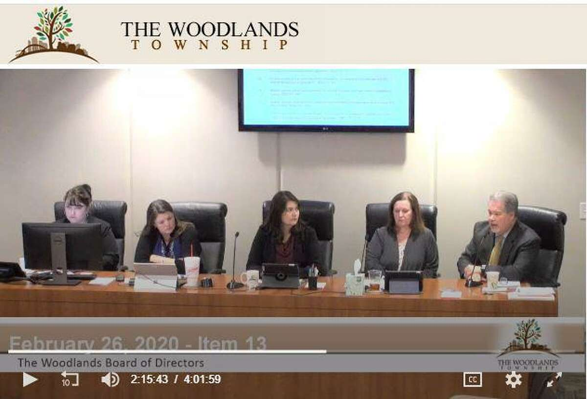 John Powers, the assistant general manager for community services for The Woodlands Township, is shown in this screenshot from the Feb. 26 township Board of Directors meeting. Powers, on far right, criticized a feral hog trapping pilot program implemented by Montgomery County Precinct 3 Commissioner James Noack that had netted more than 40 feral hogs in six weeks.
