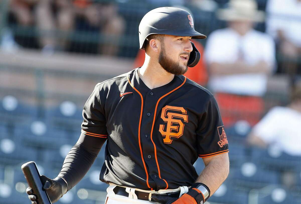 San Francisco Giants Joey Bart steps up to the plate in the bottom of the ninth inning during their game with the Cleveland Indians at Scottsdale Stadium Thursday, March 5, 2020, in Scottsdale, Arizona.