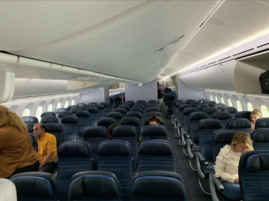A normally packed evening United nonstop from Newark to SFO on Tuesday March 10 carried just 108 passengers, leaving 144 seats empty on the Boeing 787 Dreamliner Photo: Mia Iverson