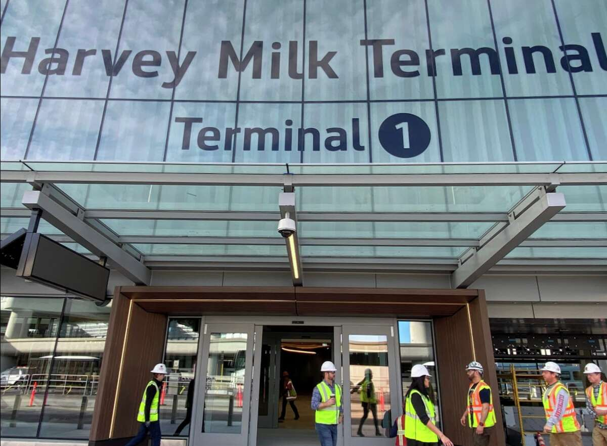 The second phase of SFO's Harvey Milk Terminal 1 opens on March 24. The lettering in the terminal sign is not painted-- instead it is baked into the layers of the glass fronting the roadway.