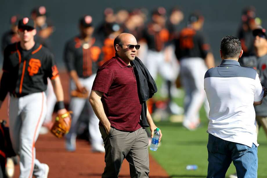 Farhan Zaidi of the San Francisco Giants looks on during a workout on Tuesday, February 18, 2020 at Scottsdale Stadium in Scottsdale, Arizona. Photo: Alex Trautwig / MLB Photos Via Getty Images