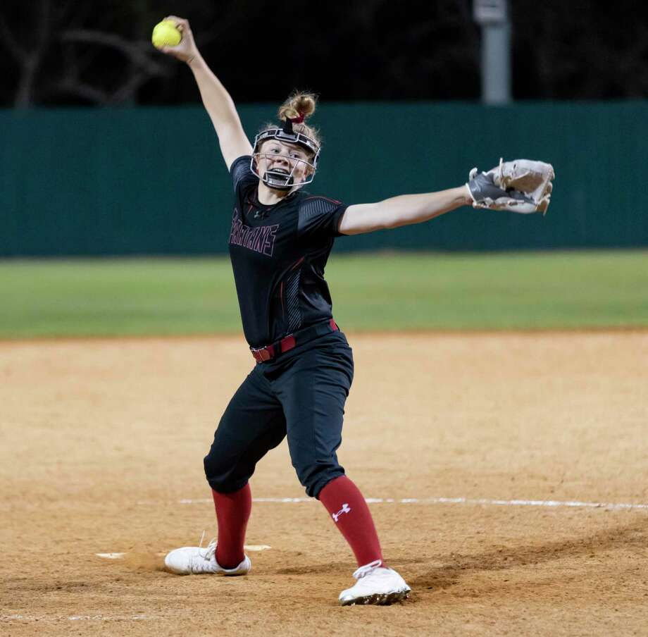 Porter pitcher Arriana Wright pitches against Montgomery High School in a District 20-5A softball game at Montgomery High School in Montgomery, Tuesday, March 10, 2020. Photo: Gustavo Huerta, Houston Chronicle / Staff Photographer / Houston Chronicle © 2020