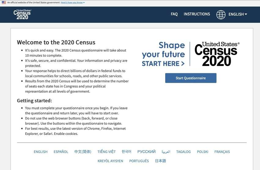 This photo provided by the U.S. Census 2020, shows the homepage of the United States' Census 2020 website on Tuesday, March 10, 2020. The 2020 census is off and running for much of America now. The U.S. Census Bureau made a soft launch of the 2020 census website on Monday, March 9 making its form available online. On Thursday, March 12 the Census Bureau will begin mailing out notices far and wide. (U.S. Census via AP)