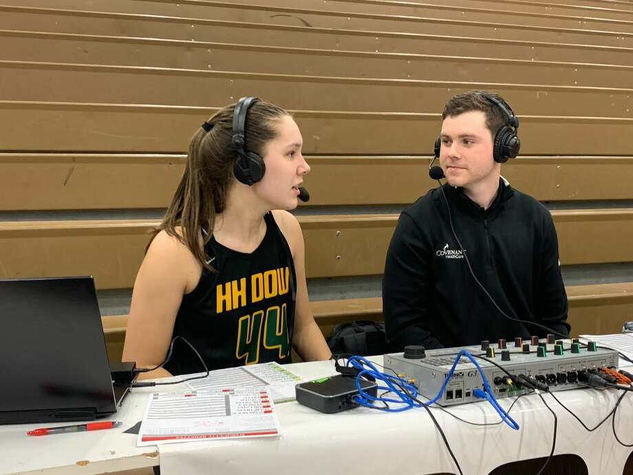 Dow High sophomore Abby Rey speaks with ESPN 100.9's Blake Froling following the Chargers' 63-54 win over Marquette in Tuesday's Division 1 regional semifinal at Gaylord High School. Photo: Fred Kelly/fred.kelly@mdn.net