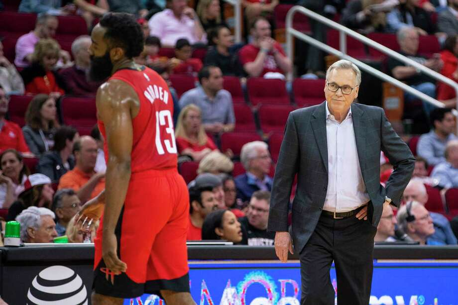 PHOTOS: A look at the Rockets' game-by-game results this season Houston Rockets head coach Mike D'Antoni looks at Houston Rockets guard James Harden (13) during the first half of an NBA game, Tuesday, March 10, 2020, at Toyota Center in Houston. Photo: Mark Mulligan, Staff Photographer / © 2020 Mark Mulligan / Houston Chronicle