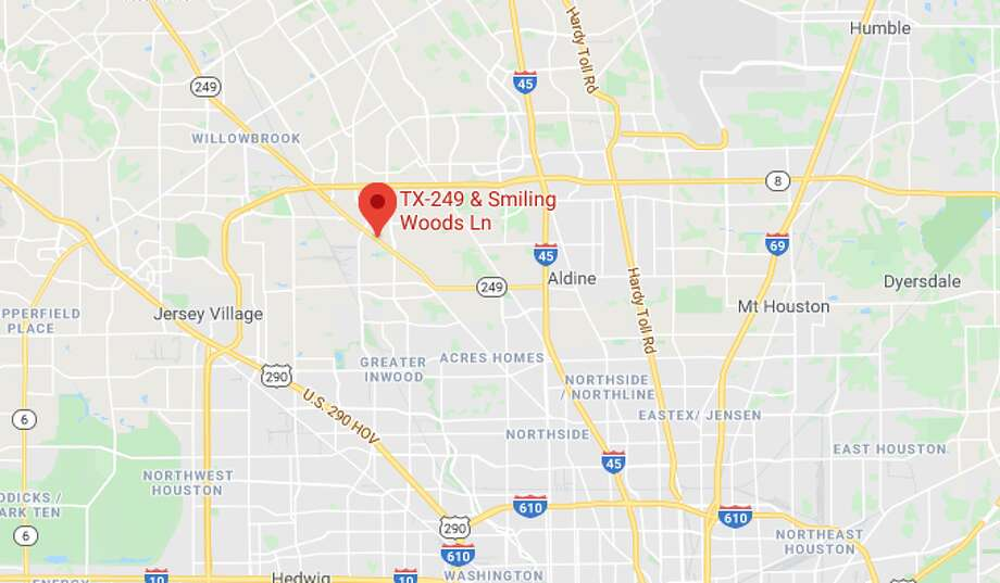 A pedestrian was hit and killed Tuesday by a driver at Smiling Woods Lane and Texas 249 in northwest Harris County, deputies said. Photo: Google Maps