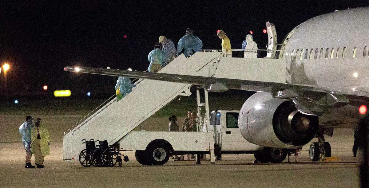 A charter flight from Oakland International Airport carrying passengers evacuated from the Grand Princess cruise ship arrive at Joint Base San Antonio-Lackland on Tuesday, March 10, 2020. The passengers will be housed on base during a federally mandated 14-day quarantine.