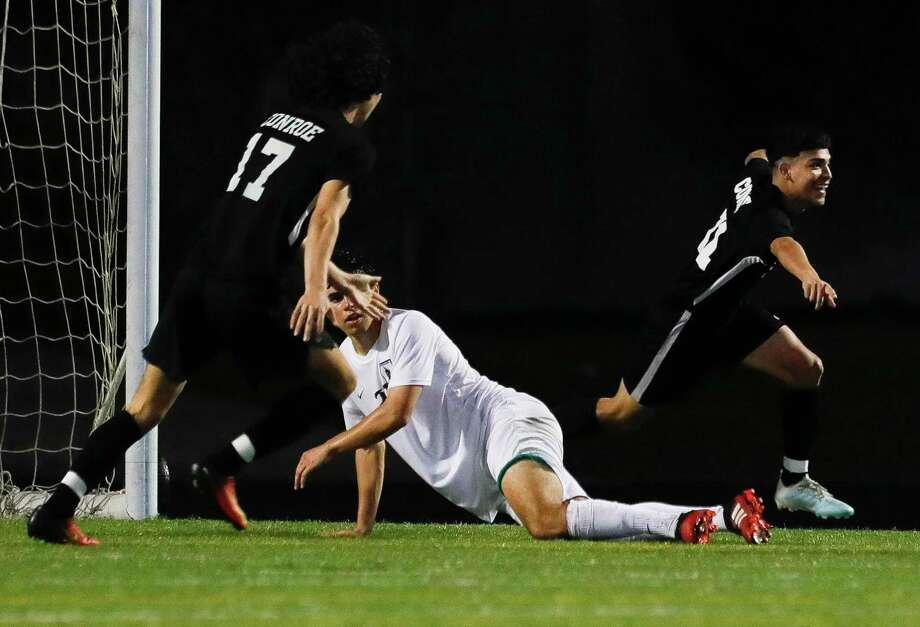 Conroe's Anthony Leon (11) reacts after scoring the game-winning goal during the second period of a District 15-6A high school soccer match at Buddy Moorhead Stadium, Tuesday, March 10, 2020, in Conroe. Photo: Jason Fochtman, Houston Chronicle / Staff Photographer / Houston Chronicle  © 2020