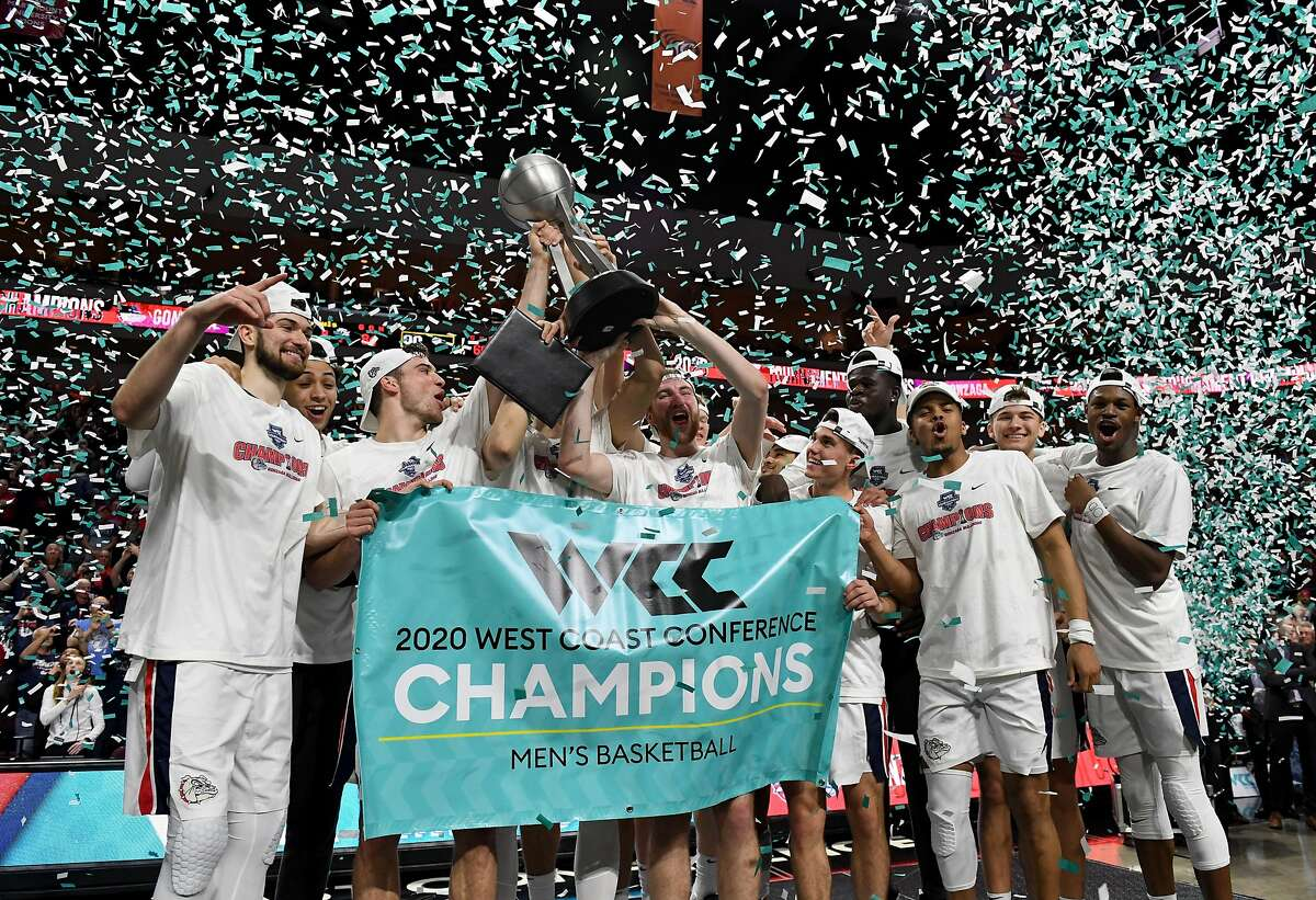 The Gonzaga men celebrate their WCC tournament championship after beating Saint Mary's 84-66 at the Orleans Arena on March 10.