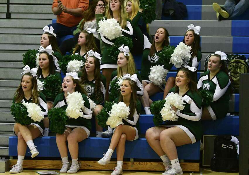 Schalmont cheerleaders react after a play during the Class B boys' basketball regional against Ogdensburg Free Academy on Tuesday, March 10, 2020 in Saratoga Springs, N.Y. (Lori Van Buren/Times Union)