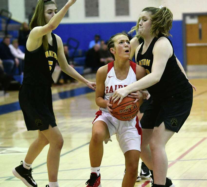Mechanicville's Chloe Goverski drives to the basket during the Class B girls' basketball regional against Canton on Tuesday, March 10, 2020 in Saratoga Springs, N.Y. (Lori Van Buren/Times Union)
