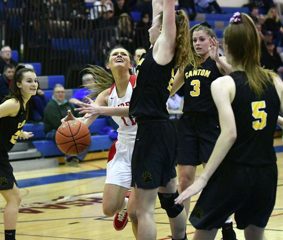 Mechanicville's Charli Goverski drives to the basket during the Class B girls' basketball regional against Canton on Tuesday, March 10, 2020 in Saratoga Springs, N.Y. (Lori Van Buren/Times Union)