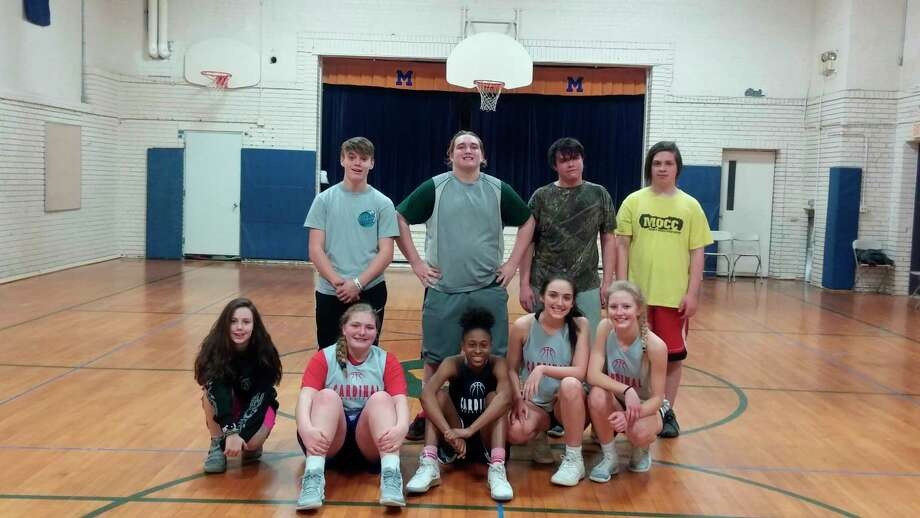 Morley basketball shooting competition and 3-on-3 tournament play participants on Saturday included front row (from left) Rileigh Atherton, Emma Powell, Leila Valentine, Ensley Councilor and Jenna Williams; back row (from left) Cameron Bogart, Devin Chartrand, Trevor Ramirez and Ian Myers. (Courtesy photo)