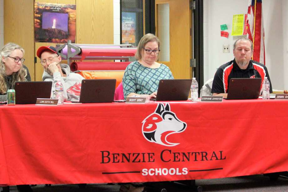 Members of the Benzie Central Board of Education hold discussion during their monthly meeting on March 9. (Photo/Robert Myers)