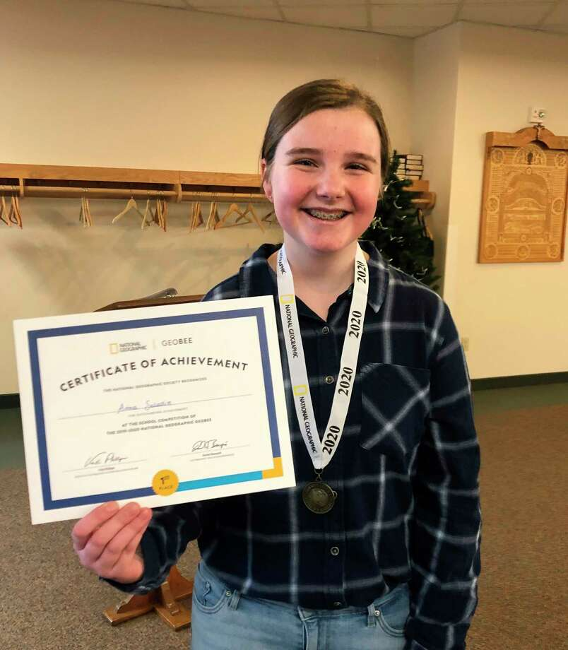 Anna Saladin, an eighth grader at Trinity Lutheran School in Reed City, was named a semifinalist in the National Geographic GeoBee State Competition. (Submitted photo)