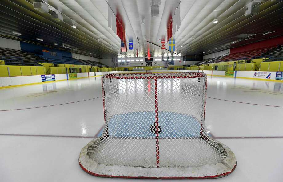 The CIAC announced on March 10, 2020 that all Connecticut State High School Playoff tournaments going forward would be cancelled due to the on going growing concerns and spread of the COVID-19 Coronavirus outbreak. An empty net and darken arena at Terry Conner's Rink, highlight the effects of the decision made, the dreams of many seniors hoping to play and fulfill their high school careers as they look for one last opportunity to bolster the college resumes. Photo: Matthew Brown / Hearst Connecticut Media / Stamford Advocate