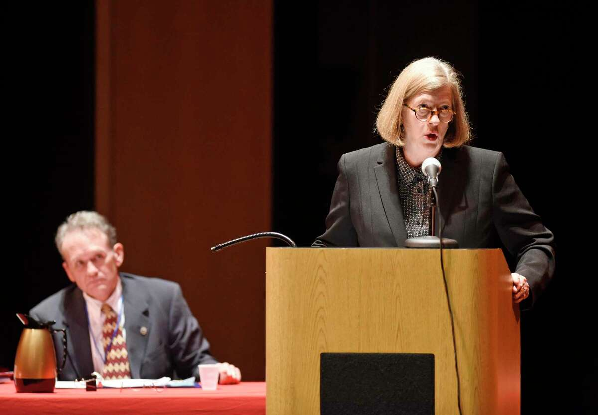 """Public defender Adele Patterson, right, represents her client as state prosecutor Timothy Sugrue listens and prepares his argument during an official Connecticut Appellate Court hearing as part of the Appellate Court's """"On Circuit"""" program at Greenwich High School in Greenwich, Conn. Tuesday, March 10, 2020. The program provides students with a greater understanding of appellate courts by hearing real cases in front of them, followed by a brief question and answer session."""