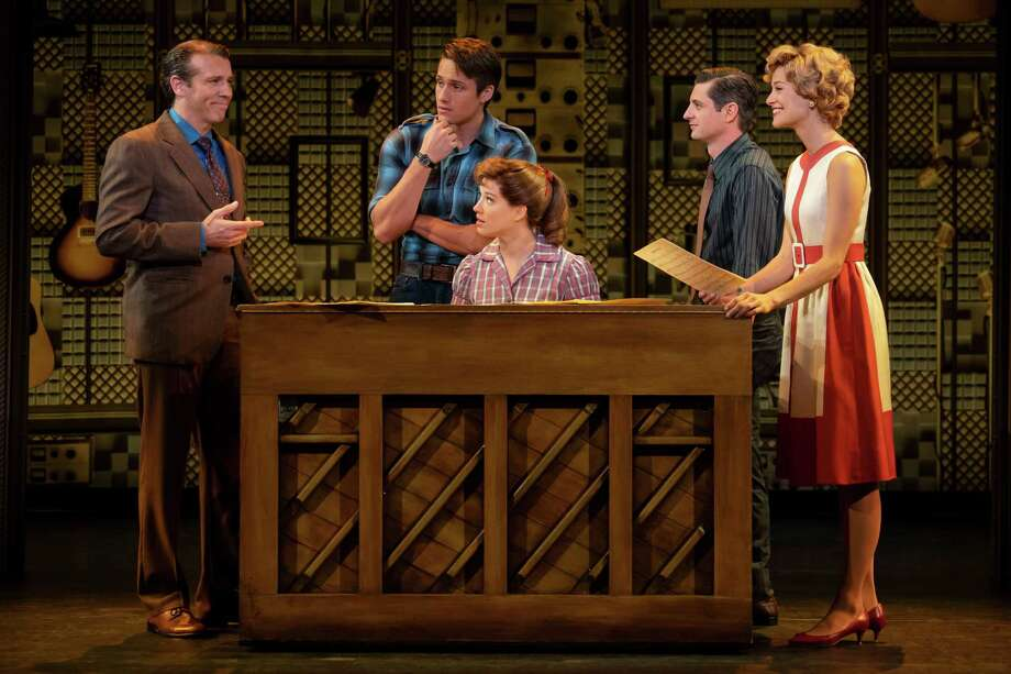 """""""Beautiful — The Carole King Musical"""" will be onstage at the Toyota Oakdale Theatre in Wallingford, Dec 26 - 29. From left are Matt Loehr as Don Kirshner, James D. Gish as Gerry Goffin, Kennedy Caughell as Carole King, James Michael Lambert as Barry Mann, and Kathryn Boswell as Cynthia Weil. Photo: Joan Marcus / Contributed Photo / Courtesy Photo"""