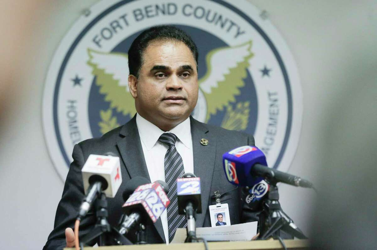 Fort Bend County Judge KP George discusses the confirmation of the county's first presumptive positive case of COVID-19 during a press conference at the Fort Bend County Homeland Security and Emergency Management in Richmond, Texas, on Wednesday, March 4, 2020.