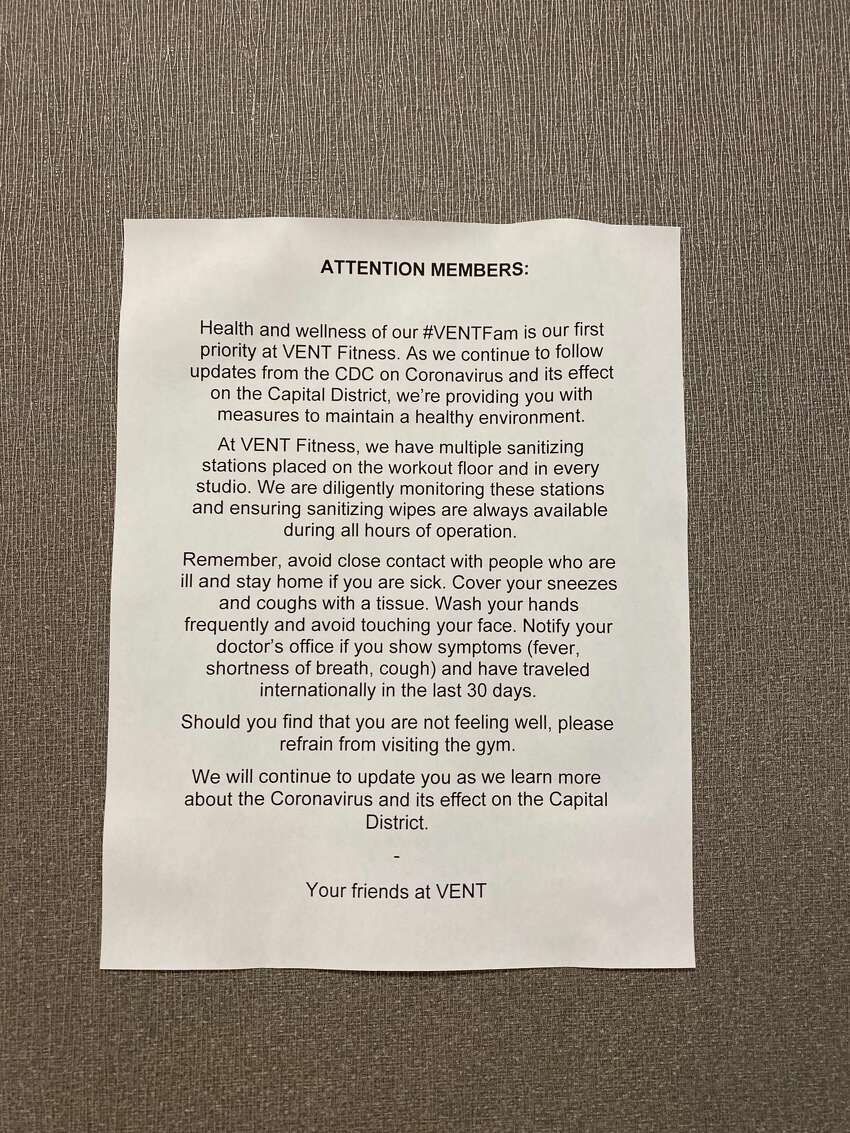 A note posted at the Vent Fitness gym in Clifton Park where a couple that tested positive for Covid-19 exercised before they were quarantined.
