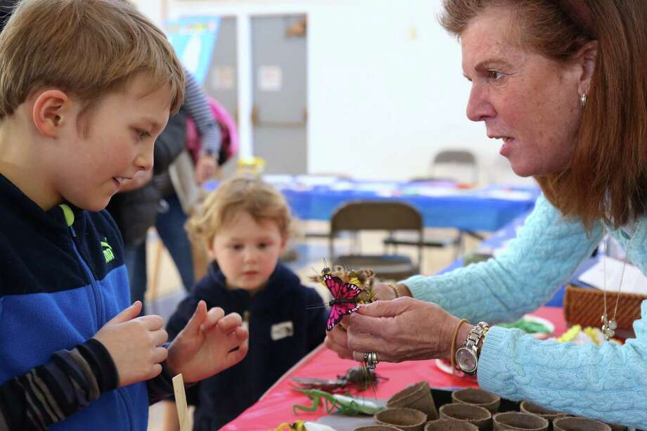 Andrew Houghton, 8, of New Canaan, enjoys an introduction to nature from Vicki Nolan, of the Darien Gardening Club, at the Darien Youth Commission's annual Community Festival of Arts & Sciences on Saturday at Town Hall. Photo: Jarret Liotta / For Hearst Connecitcut Media / ©Jarret Liotta 2020