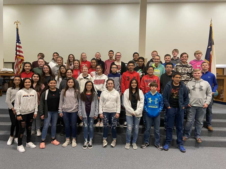 Members of the Plainview National Junior Honor Society pose for a group photo. The NJHS inducted 27 new members last week. Photo: Plainview ISD