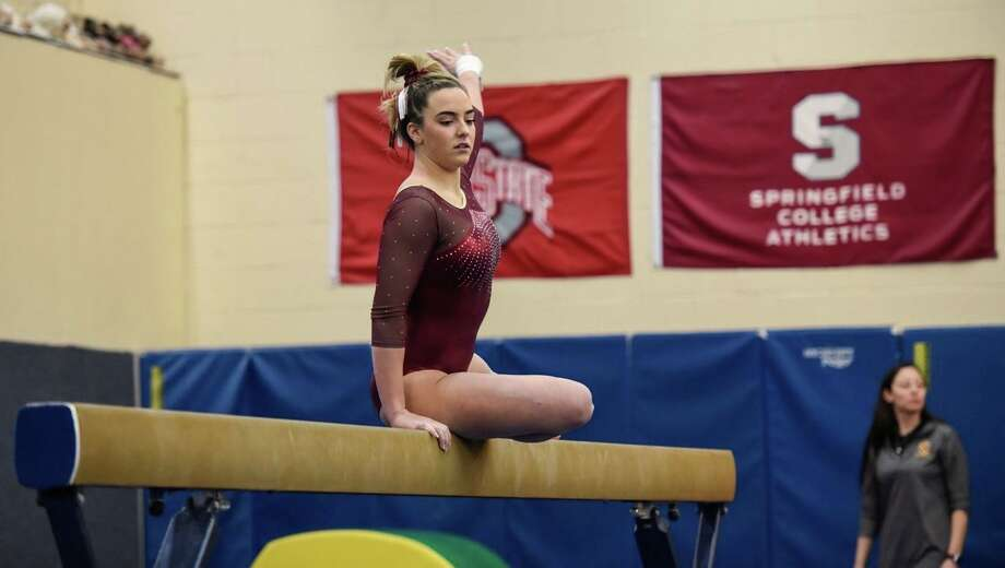 Schuyler Tomey was State Open champ on vault for St. Joseph. Photo: Contributed Photo / Lorraine Boyd / Trumbull Times