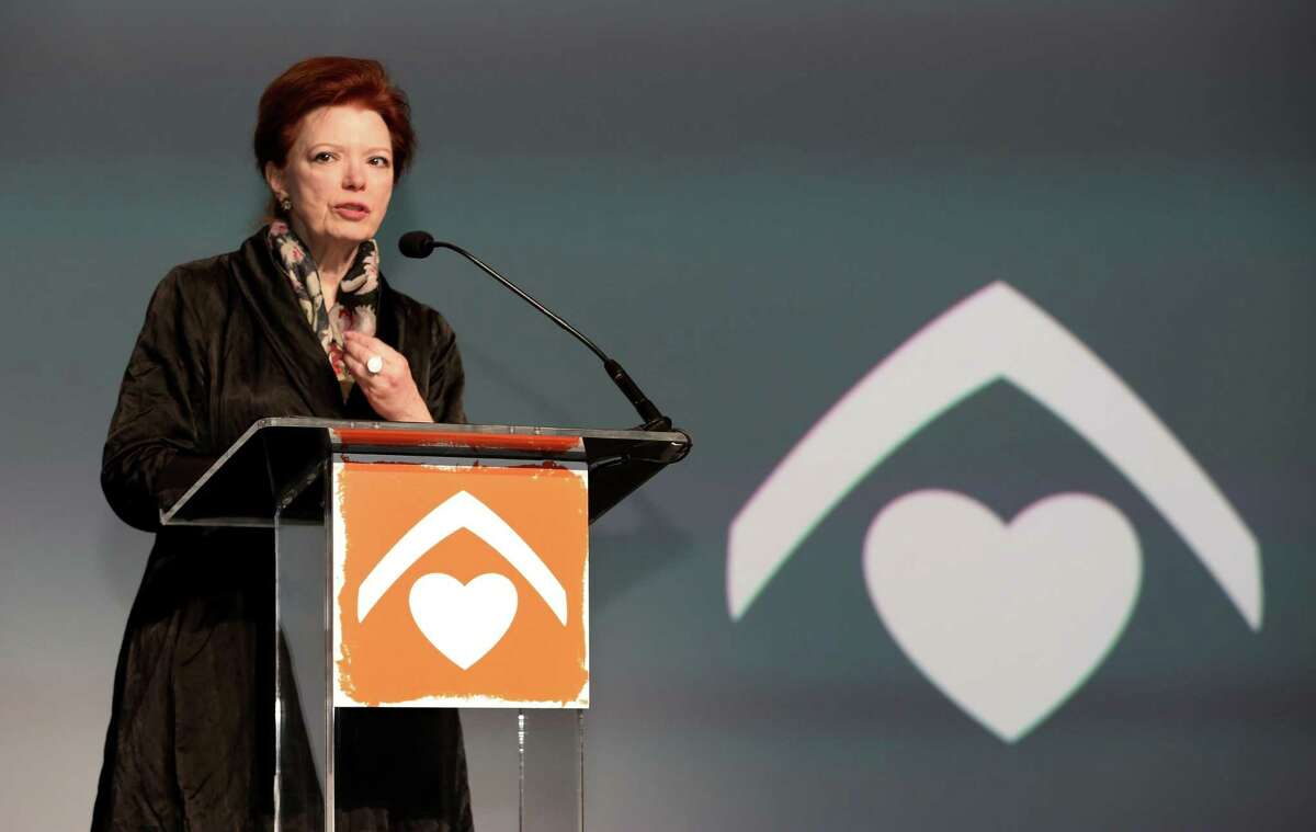 Neighborhood Centers President and CEO Angela Blanchard makes a speech regarding to the organization changing its name to BakerRipley, to honor contributions made by two prominent Houston families, at Hilton Americas Hotel Thursday, Feb. 16, 2017, in Houston. Neighborhood Centers is an organization in Houston that helps people in low-income and immigrant communities. ( Yi-Chin Lee / Houston Chronicle )