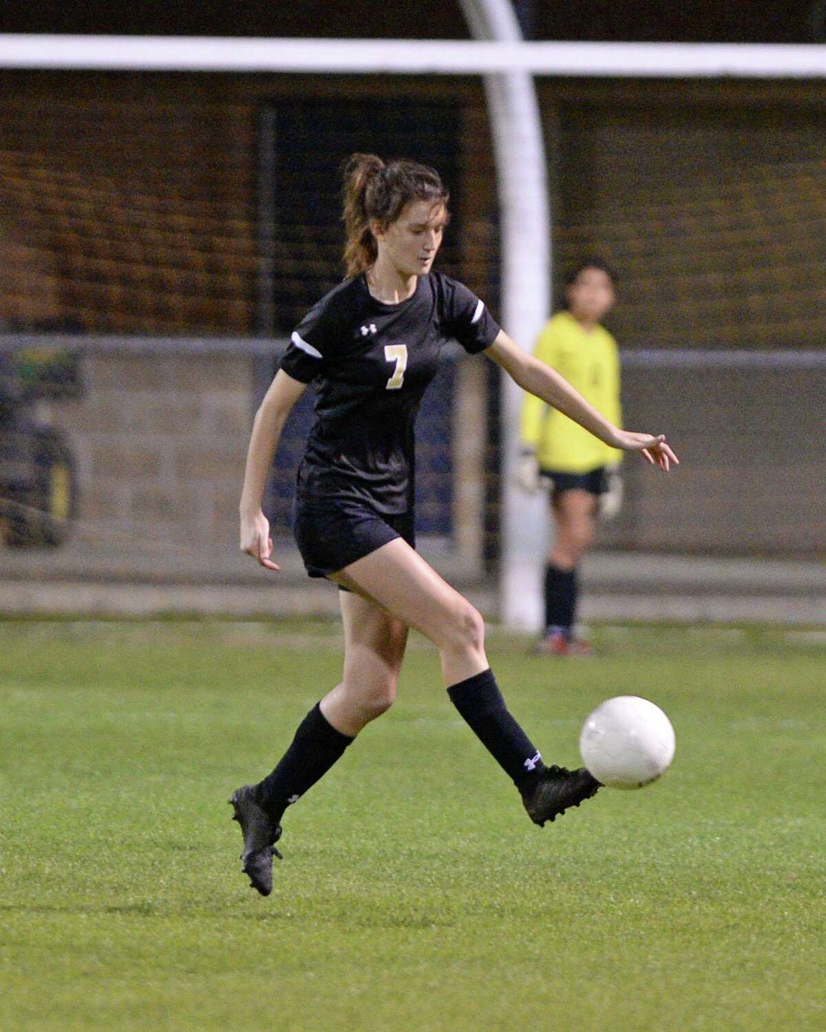 Marley Hennig (7) of Spring Woods traps a ball during the second half of a girls 6A-III District 17 soccer game between the Spring Woods Tigers and the Cy Falls Eagles on Monday, March 10, 2020 at Spring Woods High School, Houston, TX.