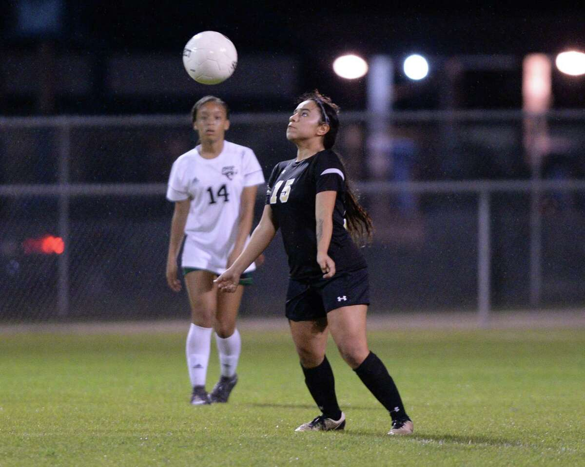 Lizbeth Lopez (15) of Spring Woods traps a ball during the second half of a girls 6A-III District 17 soccer game between the Spring Woods Tigers and the Cy Falls Eagles on Monday, March 10, 2020 at Spring Woods High School, Houston, TX.