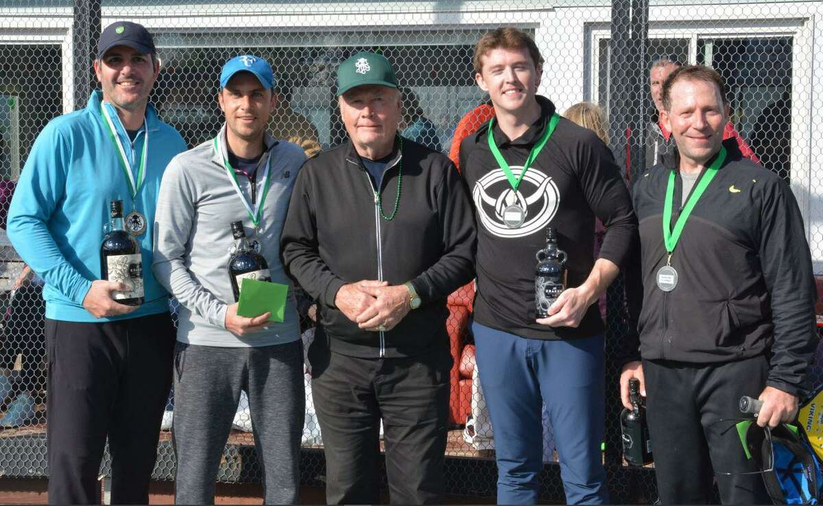 The winners of the 2019 St. Paddles Day Men's Open Draw are, from left, Anton Bobytsky and Evan Paushter with Tournament Honorary Chair and Wilton resident Bill Fanning and finalists John Hughes and David Acselrod. This year's tournament is March 14 at the Wilton YMCA.