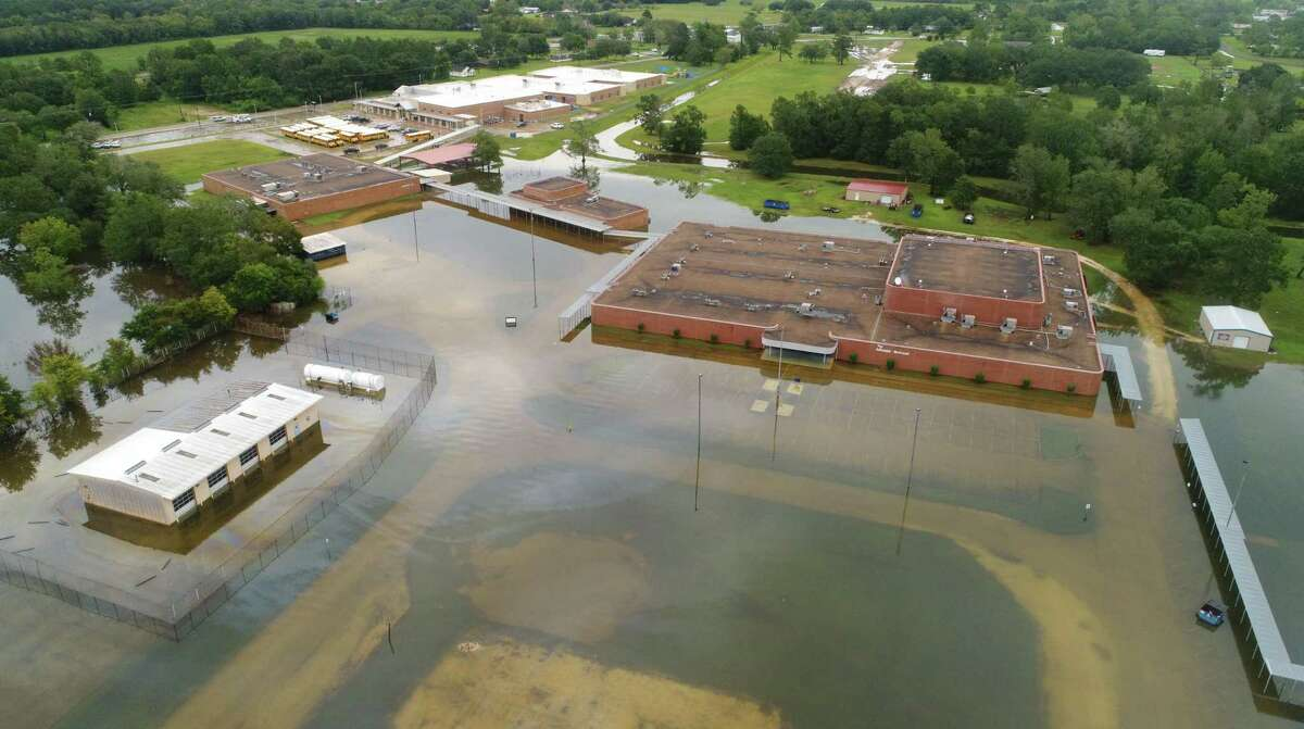 Hamshire Fannett Middle School on Texas 124 after Tropical Storm Imelda in Fannett on Friday. Photo taken Friday, 9/20/19