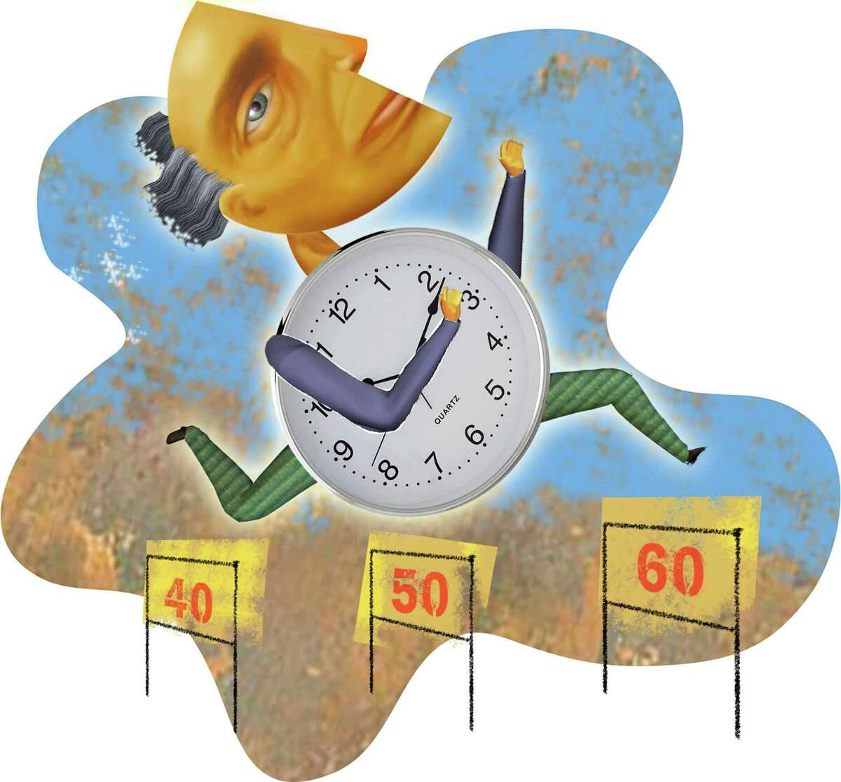 300 dpi Rick Nease color illustration of man with ticking clock body jumping over progressive age hurdles: 40, 50 and 60. Detroit Free Press 2007 midlife crisis illustration forties fifties sixties aging time birthday elderly senior citizens boomers clock hurdle old age turning fifty sixty krtfeatures features, krtnational national, krtworld world, krtlifestyle lifestyle, krtseniors senior citizen, krt, mctillustration, ilustracion grabado cumpleanos edad mayor tiempo reloj aspecto aspectos, 2007, krt2007, de contributed coddington nease mct mct2007