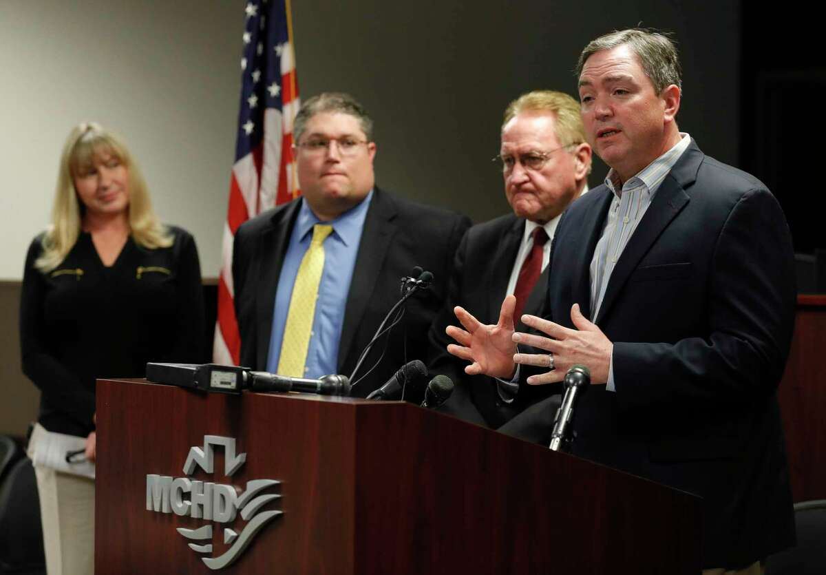 Montgomery County ISD Superintendent Beau Rees announces the district will close schools Thursday and Friday ahead of the district's spring break during a press conference at the Montgomery County Hospital District Administration Building, Wednesday, March 11, 2020, in Conroe. Montgomery County officials announced the first 'presumptive positive' case of coronavirus in the county. The patient, a Montgomery County man in his 40s, is being treated at a local hospital, and the positive test has been submitted to the Centers for Disease Control for final confirmation.