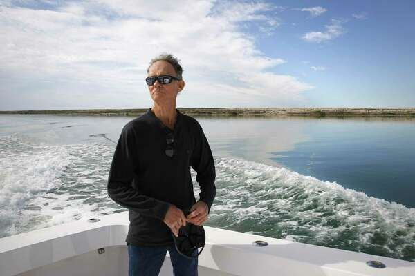Barney Farley, a longtime resident of Port Aransas, takes a boat ride to view the current development on the Corpus Christi Ship Channel.