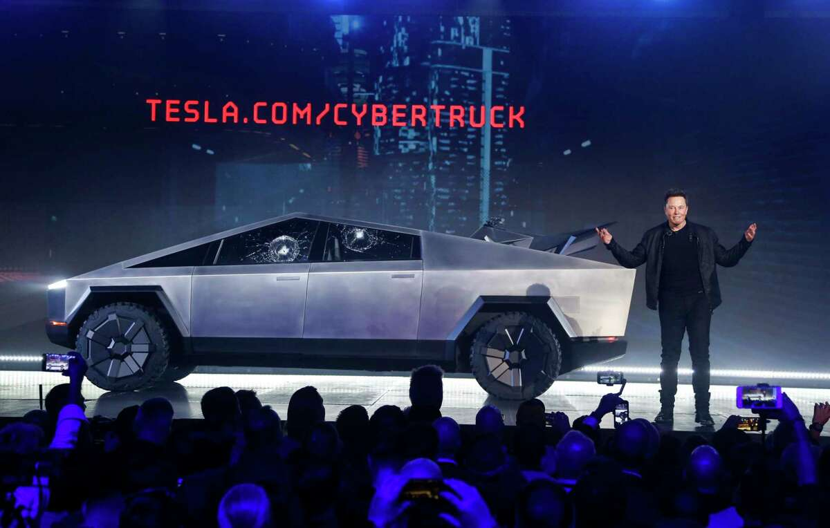 Tesla CEO Elon Musk introduces the Cybertruck at Tesla's design studio in Hawthorne, Calif., in 2019.