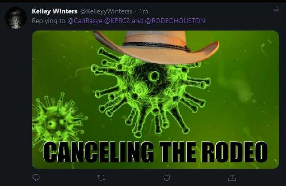 Houstonians react to the cancellation of the 2020 Houston Livestock Show and Rodeo. Photo: Twitter Screenshot