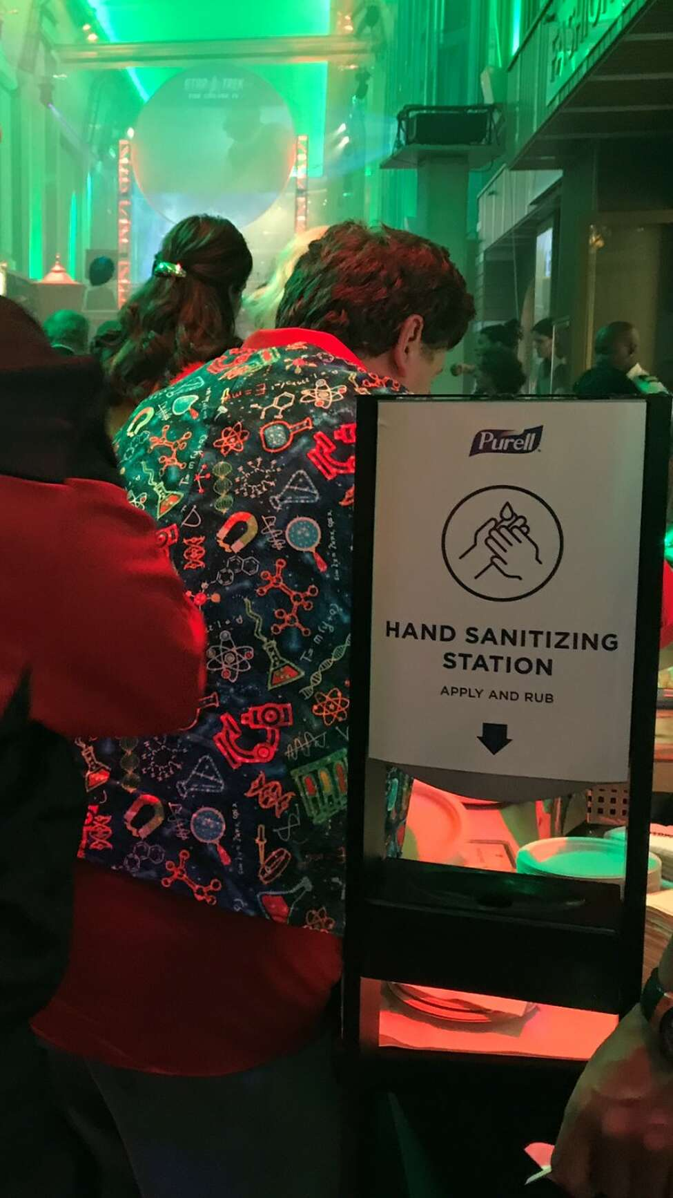 One of many, many hand-sanitizer stations on the