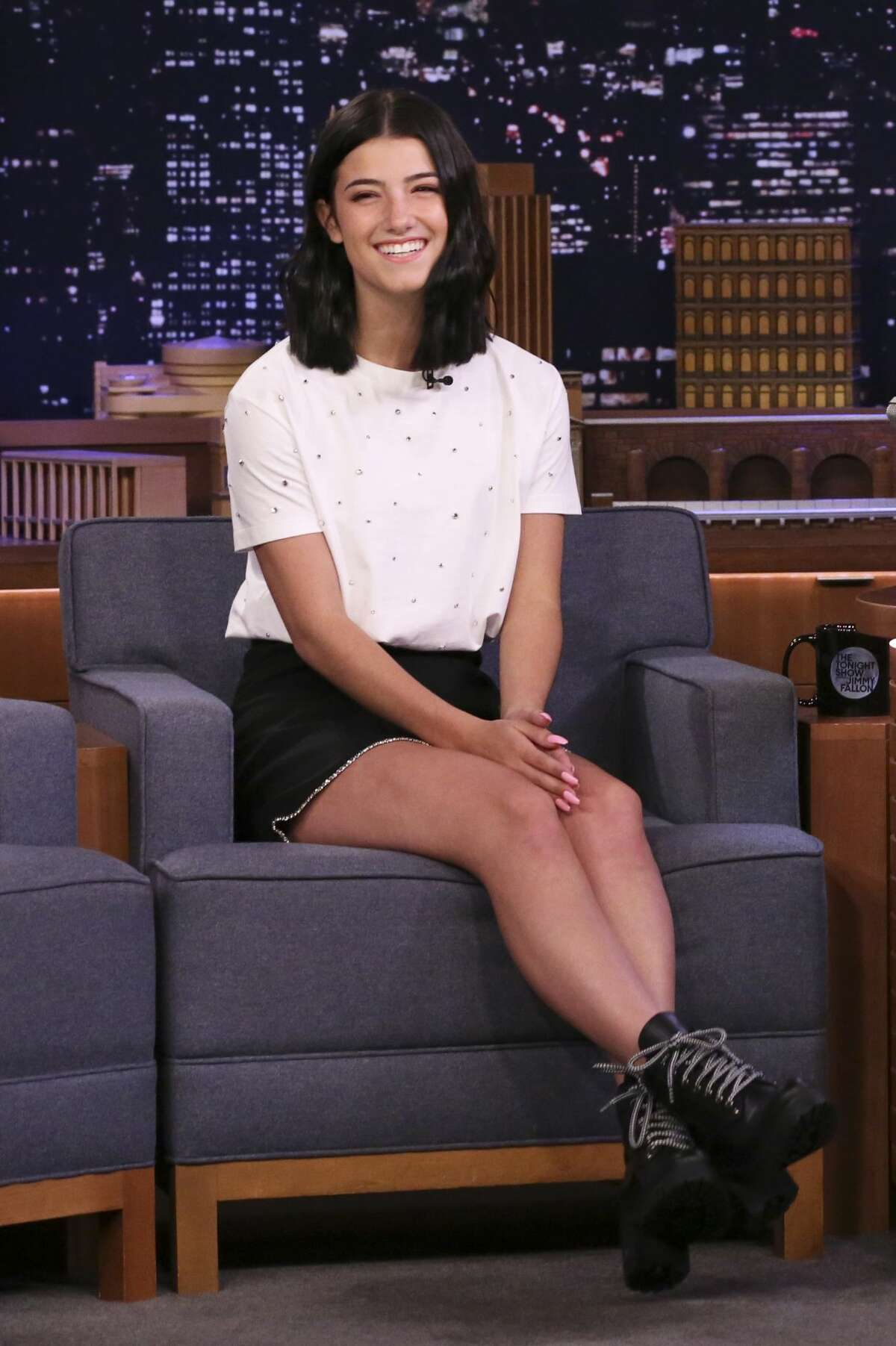 THE TONIGHT SHOW STARRING JIMMY FALLON -- Episode 1222 -- Pictured: Dancer Charli D'Amelio during an interview on March 10, 2020 -- (Photo by: Andrew Lipovsky/NBC/NBCU Photo Bank via Getty Images)
