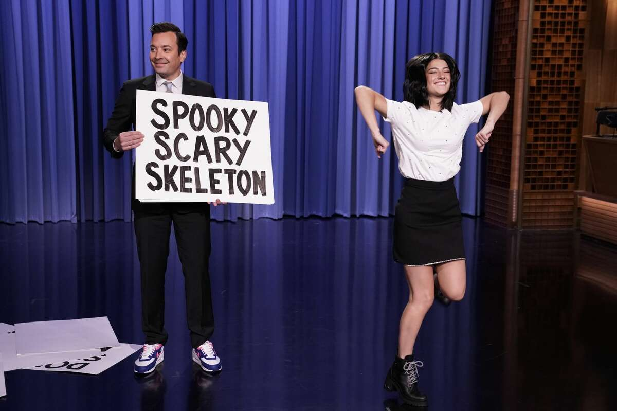 Host Jimmy Fallon and dancer Charli D'Amelio during