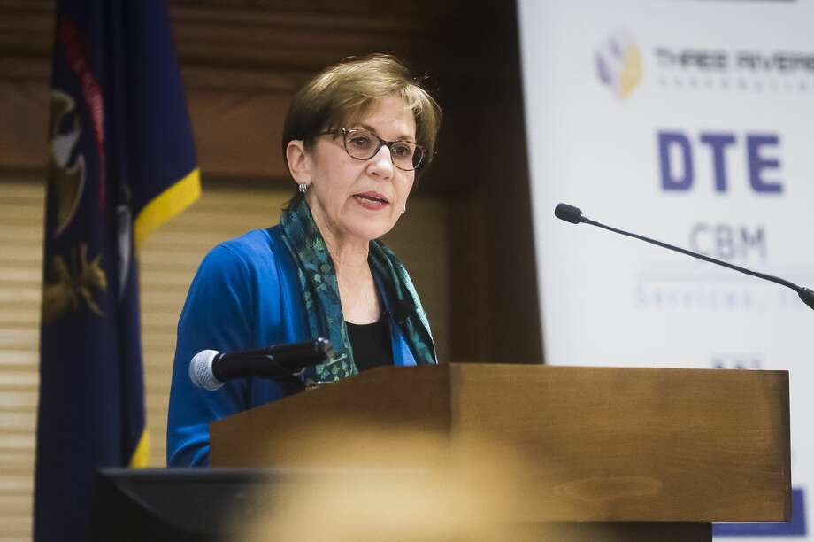 Mayor Maureen Donker delivers the annual State of the City address Wednesday, March 11, 2020 at Great Hall Banquet & Convention Center. (Katy Kildee/kkildee@mdn.net) Photo: (Katy Kildee/kkildee@mdn.net)