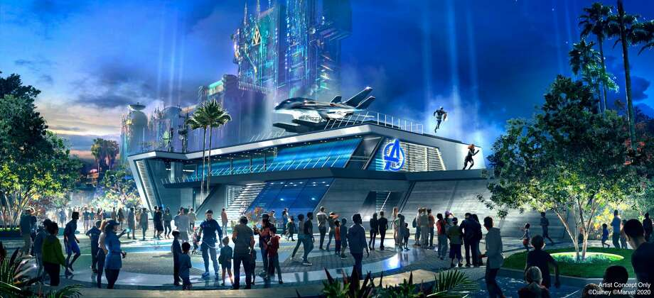 Throughout the day at Avengers Headquarters at Avengers Campus inside Disney California Adventure Park in Anaheim, California, recruits may encounter epic, live-action moments with Avengers heading off the threat of their foes. The Avengers Headquarters is the heart of the land and features the iconic Quinjet stealth aircraft. Avengers Campus opens July 18, 2020. (Disneyland Resort) Photo: Disney/Marvel