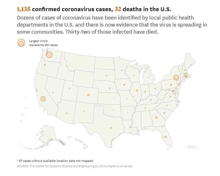 This map shows the cases of coronavirus as of Wednesday evening in the U.S. Photo: Hearst
