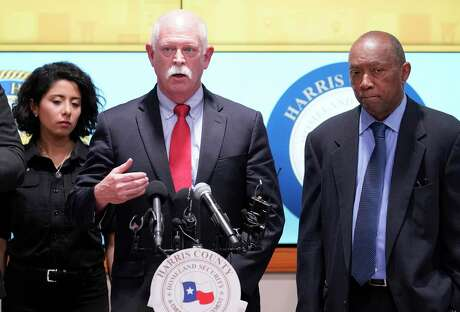 Dr. David Persse, the health authority of the city of Houston, speaks about the first two confirmed cases of COVID-19 in Harris County on March 5, 2020, flanked by Harris County Judge Lina Hidalgo and Houston Mayor Sylvester Turner.